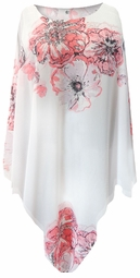 NEW! White With Pink Tea Roses Lightweight Sheer Poly Blend Plus Size Supersize Poncho