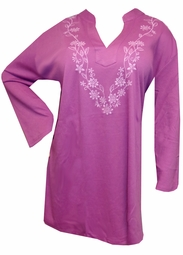 SALE! Magenta Embroidered Floral Collar Long Sleeve Plus Size Tunic Top 5x