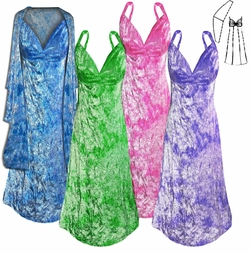 SALE! Many Colors! Dark Purple, Fuchsia, Green, or Turquoise Tie Dye 2 Piece Princess Seam Dress Set: Beautiful Crush Velvet Plus Size & Supersize With Wrap 0x 1x 2x 3x 4x 5x 6x 7x 8x