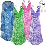 SALE! Many Colors! Dark Purple, Fuchsia, Green, or Turquoise Tie Dye 2 Piece Princess Seam Dress Set: Beautiful Crush Velvet Plus Size & Supersize With Wrap Lg XL 0x 1x 2x 3x 4x 5x 6x 7x 8x