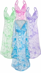 NEW! Many Colors! Dark Purple, Fuschia, Green, or Turquoise Tie Dye 2 Piece Princess Seam Dress Set: Beautiful Crush Velvet Plus Size & Supersize With Wrap Lg XL 0x 1x 2x 3x 4x 5x 6x 7x 8x