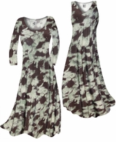 NEW! Customize Mint Green & Chocolate Brown Blotches Slinky Print Plus Size & Supersize Standard or Cascading A-Line or Princess Cut Dresses & Shirts, Jackets, Pants, Palazzo's or Skirts Lg to 9x