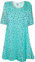 Mint Green Triangles Print Supersize Extra Long T-Shirts 6x*