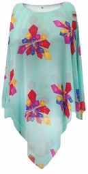 NEW! Mint Green With Geo Shapes Sheer Poly Blend Plus Size Supersize Poncho