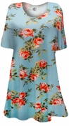 SALE! Light Aqua With Roses Print Supersize Extra Long T-Shirts 0x 3x 8x
