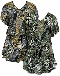 SALE! Green or Mustard Mixed Animal Print Slinky Plus Size Elastic Waist Tops 4x