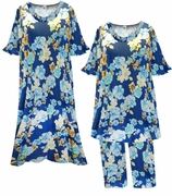 SALE! Navy Blue With Blue & Yellow Flowers Print Moo Moo Dress or Top & Pant Lounge Set Plus Size & Supersize 5x