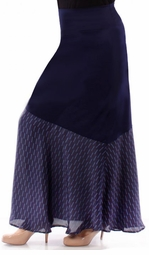 Sold Out! Navy Half Solid Print Plus Size Maxi Skirt