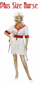 NEW! Nurse Economy or Deluxe Set Plus Size & Supersize Halloween Costume and Accessory Kit! Sizes Lg to 9x