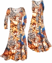 NEW! Customize Orange & Blue Multi Animal Skin Slinky Print Plus Size & Supersize Standard or Cascading A-Line or Princess Cut Dresses & Shirts, Jackets, Pants, Palazzo's or Skirts Lg to 9x
