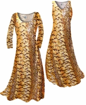 Customizable Orange, Brown, and Yellow Autumn Leaves Metallic Slinky Print Plus Size & Supersize Standard or Cascading A-Line or Princess Cut Dresses & Shirts, Jackets, Pants, Palazzo's or Skirts Lg to 9x