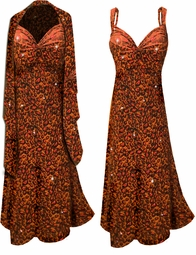 Customizable 2-Piece Black Slinky w/ Orange Leopard Glitter - Plus Size & SuperSize Princess Seam Dress Set 0x 1x 2x 3x 4x 5x 6x 7x 8x 9x
