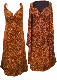 NEW! Orange Leopard Glittery Slinky Print 2 Piece Plus Size SuperSize Princess Seam Dress Set 0x 1x 2x 3x 4x 5x 6x 7x 8x 9x