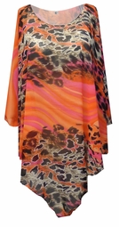NEW! Orange & Pink Leopard Lightweight Sheer Poly Blend Plus Size Supersize Poncho