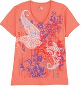 Sold Out! Just Reduced! Orange Paisley with Purple Splashes Print Glittery Plus Size T-Shirt 4x 5x
