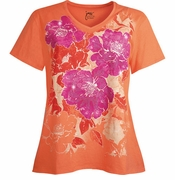 NEW! Orange Tropical Hibiscus Glittery Floral Plus Size T-Shirt 5x