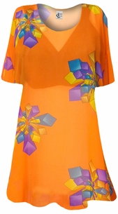 NEW! Orange with Geo Shapes Sheer Print Plus Size Coverup Tops / Swimsuit Coverups Plus Size & Supersize  3x 4x 5x 6x 8x
