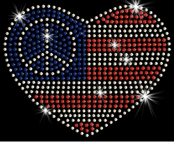 NEW! Small Patriotic American Flag With Peace Sign In Heart Sparkly Rhinestuds Plus Size & Supersize T-Shirts S M L XL 2x 3x 4x 5x 6x 7x 8x 9x (All Colors)