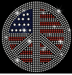 Patriotic Flag Peace Sign Sparkly Rhinestuds Plus Size & Supersize T-Shirts S M L XL 2x 3x 4x 5x 6x 7x 8x 9x (All Colors)