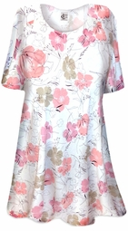SOLD OUT! SALE! Peaceful Garden Flowers Print Plus Size & Supersize Extra Long T-Shirts 2x