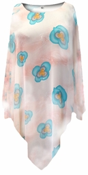 NEW! Peach With Blue Pansies Lightweight Sheer Poly Blend Plus Size Supersize Poncho