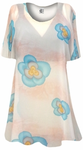 NEW! Peach With Blue Pansies Sheer Print Plus Size Coverup Tops / Swimsuit Coverups Plus Size & Supersize  3x 4x 5x 6x 8x