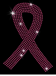 NEW! Pink Breast Cancer Support Ribbon Sparkly Rhinestuds Plus Size & Supersize T-Shirts S M L XL 2x 3x 4x 5x 6x 7x 8x 9x (All Colors)