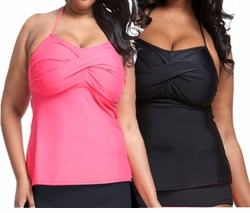 NEW! Pink or Black Twist Bandau Tankini Plus Size Swim Top 3x/22-24W And Add Matching Black Bottom Panty or Shorts 3x