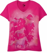 FINAL SALE! Just Reduced! Pink Sparkly Mustangs Glittery Print Short Sleeve T-Shirt 4x