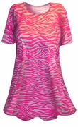 SOLD OUT! Pink & White Tiger Stripe Animal Print Plus SIze & Supersize T-Shirts 4x