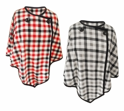 NEW! Plaid Micro Fleece One Size Poncho