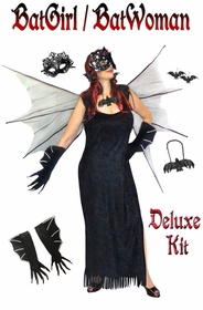 NEW! Plus Size Bat Woman Costume + Accessories Plus Size Supersize Halloween Costume Kit Large to 9x