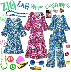 SALE! Groovy Zigzag Plus Size Hippie Costume - 60�s Style Retro Dress or Top & Wide-Bottom Pant Set Plus Size & Supersize Hippie Halloween Costume Kit Lg XL 0x 1x 2x 3x 4x 5x 6x 7x 8x 9x