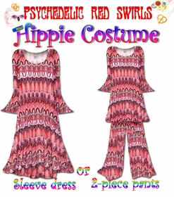 NEW!! - Plus Size Hippie Costume Psychedelic Red Swirl Print - 60's Style Retro Moo-Moo Dress or Top & Bell-Bottom Pant Set Plus Size & Supersize Hippie Halloween Costume Kit 0x 1x 2x 3x 4x 5x 6x 7x 8x 9x