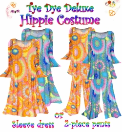 NEW!! - Plus Size Hippie Costume Tye Dye Print - 60's Style Retro Moo-Moo Dress or Top & Bell-Bottom Pant Set Plus Size & Supersize Hippie Halloween Costume Kit 0x 1x 2x 3x 4x 5x 6x 7x 8x 9x