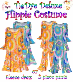 NEW!! - Plus Size Hippie Costume Tie Dye Print - 60's Style Retro Moo-Moo Dress or Top & Bell-Bottom Pant Set Plus Size & Supersize Hippie Halloween Costume Kit 0x 1x 2x 3x 4x 5x 6x 7x 8x 9x