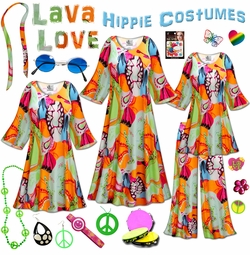 SALE! Lava Love Print Plus Size Hippie Costume - 60�s Style Retro Dress or Top & Wide-Bottom Pant Set Plus Size & Supersize Halloween Costume Kit Lg XL 0x 1x 2x 3x 4x 5x 6x 7x 8x 9x