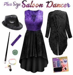 SALE! Plus Size Sexy Can Can Saloon Burlesque Dancer Black & Purple Halloween Costume Lg XL 1x 2x 3x 4x 5x 6x 7x 8x 9x