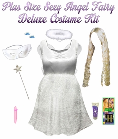 SALE! Plus Size & Super Size Sexy White Fairy Angel Costume + Accessory Kit! Lg XL 1x 2x 3x 4x 5x 6x 7x 8x 9x