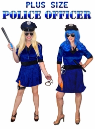 SALE! Police Officer Plus Size & Supersize Halloween Cop Costume and Accessory Kit! Sizes Lg XL 1x 2x 3x 4x 5x 6x 7x 8x 9x