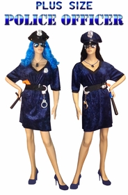 NEW! Police Officer Economy or Deluxe Set Plus Size & Supersize Halloween Costume and Accessory Kit! Sizes Lg to 9x