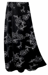 NEW!! Pretty Black With Silver Daisies Glitter Slinky Plus Size Skirt - or Pants! 0x 1x 2x 3x 4x 5x 6x 7x 8x 9x