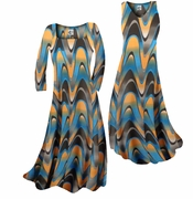 SOLD OUT! Pretty Blue & Alloy Orange Zig Zag Swirls Print Slinky Plus Size & Supersize A-Line Dresses