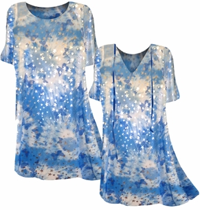 Pretty Blue Clouds With Stars & Butterflies Print Plus Size Coverup Tops or Dresses / Swimsuit Coverups 0x 1x 2x 3x 4x 5x 6x 7x 8x Plus Size & Supersize