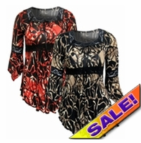 SALE! Pretty Tan & Black or Red & Black Print Lace Trim Bell Sleeve Slinky Plus Size Shirts 4x 5x 6x