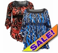 SALE! Pretty Blue & Black or Red & Black Print Lace Trim Bell Sleeve Slinky Plus Size Shirts 4x