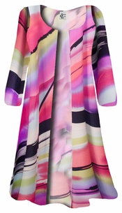 NEW! Pink Swirls Print Plus Size Slinky Duster Jacket 1x 2x 3x 4x Supersize 5x 6x 7x 8x 9x