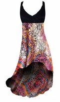 Pretty Gold Shiny Metallic Over Pink Multicolor Print Slinky Plus Size Customize Hi-Low Empire Waist Dress add Matching Wrap 0x 1x 2x 3x 4x 5x 6x 7x 8x 9x