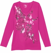 SALE! Pretty Hot Pink Little Flowers Glittery Long Sleeve Plus Size Shirt 1x 2x
