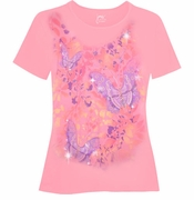 SALE! Pretty Light Bright Pink With Trio Butterflies Glittery Floral Plus Size T-Shirt 5x